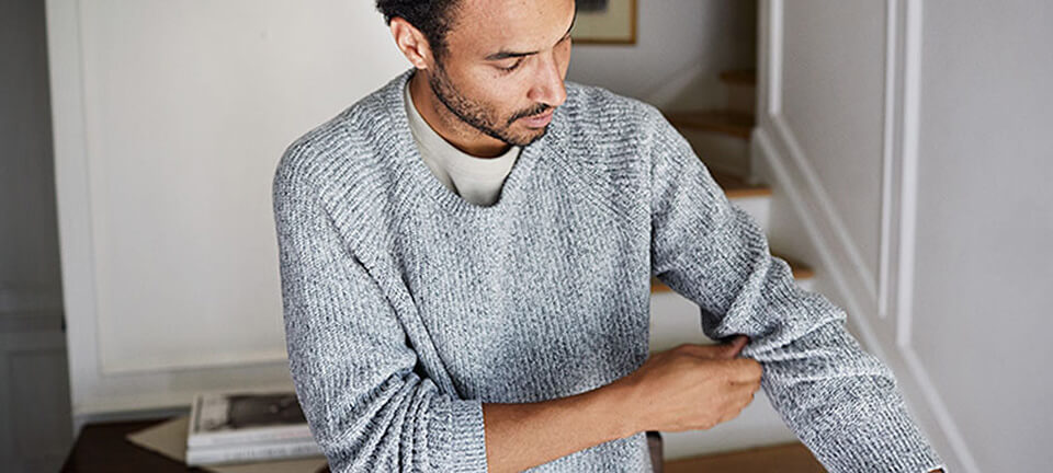 Man wearing soft sweater